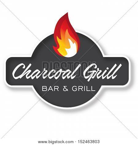 Grill Design Element Logotype, Label, Badge. Fire flame vector illustration.