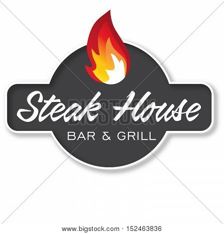 Stek House Bar and Grill Design Element in Logotype, Label, Badge. Fire flame vector illustration