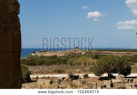 Acropolis Of Selinunte By The Sea In Sicily Italy