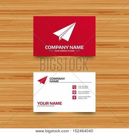 Business card template. Paper Plane sign. Airplane symbol. Travel icon. Flight flat label. Phone, globe and pointer icons. Visiting card design. Vector