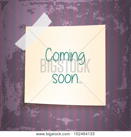 note paper on color background. coming soon. striped vintage violet background