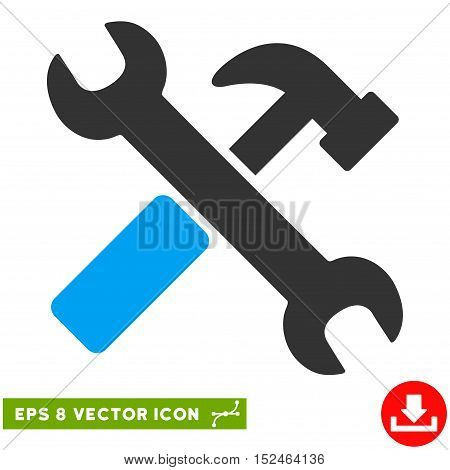 Hammer and Wrench EPS vector pictogram. Illustration style is flat iconic bicolor blue and gray symbol on white background.