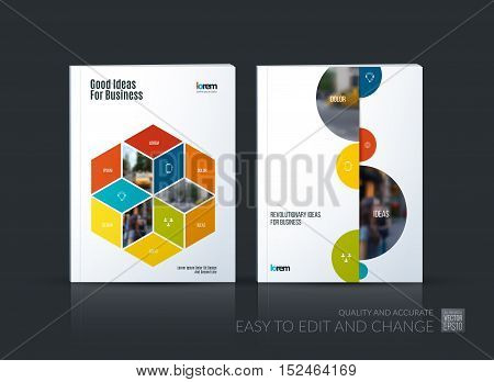 Brochure template layout collection, cover design annual report, magazine, flyer in A4 with colorful rhombus, rectangle for business, flower style. Abstract vector design set with half circles.
