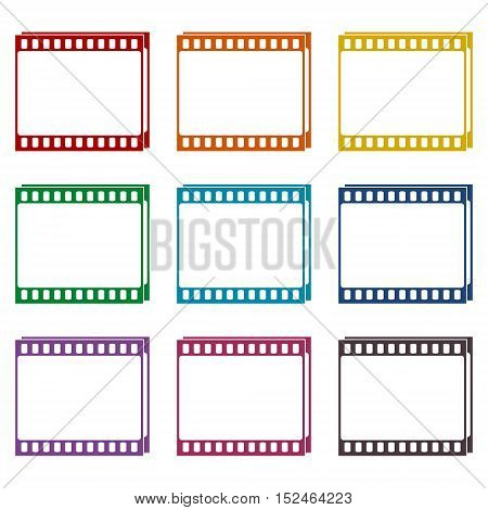 Film Frame icons set on white background