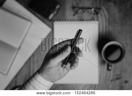 stationery workplace office employee with a cup of tea during lunch
