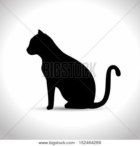 silhouette sitting cat icon graphic vector illustration eps 10
