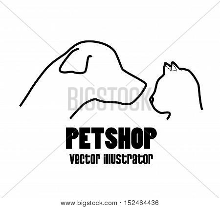petshop dog and cat profile icon vector illustration eps 10