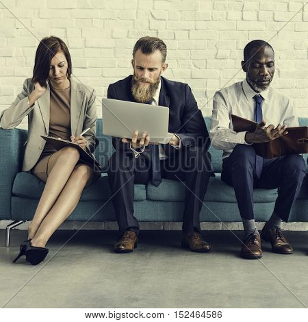 Business People Sitting Sofa Couch Unity Concept