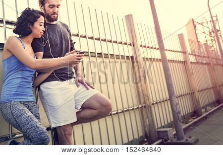Workout Sport Fitness Exercise Runner Couple Concept