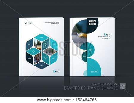 Brochure template layout collection, cover design annual report, magazine, flyer in A4 with blue rhombus, rectangle for business, flower style. Abstract vector design set with half circles.