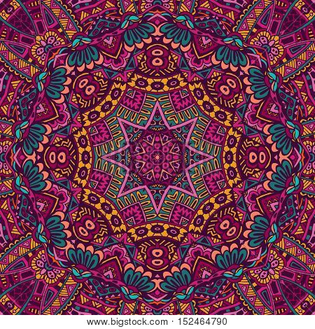 Abstract festive colorful grunge vector ethnic tribal pattern