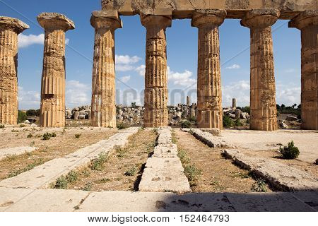 Ruins Of Greek Temple Selinunte Sicily Italy