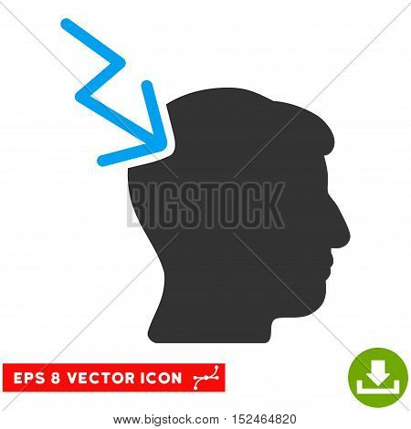Head Electric Strike EPS vector pictograph. Illustration style is flat iconic bicolor blue and gray symbol on white background.