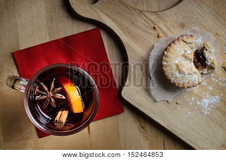 Christmas Mince Pie With Mulled Wine From Above