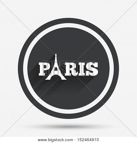 Eiffel tower icon. Paris symbol. Circle flat button with shadow and border. Vector