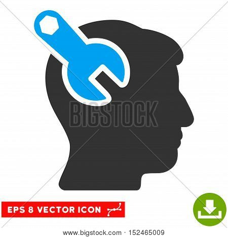 Head Neurology Wrench EPS vector pictograph. Illustration style is flat iconic bicolor blue and gray symbol on white background.