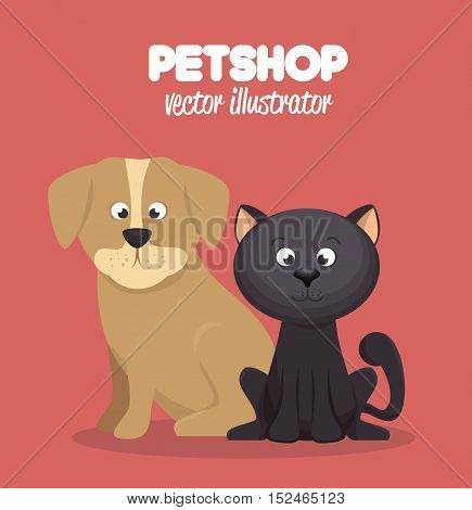 veterinary pet shop cat and dog graphic vector illustration eps 10