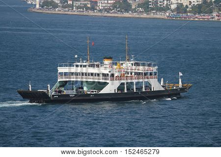 ISTANBUL TURKEY - JULY 30 2016: Istanbul Deniz Otobusleri ferry carry passangers between Asian and European sides of Istanbul. 18 ferries in 3 types carry passengers between Sirkeci and Harem.