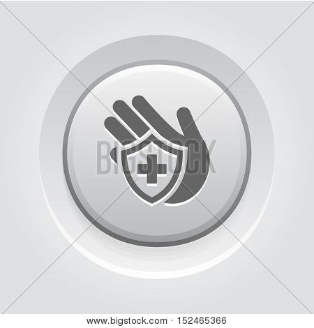 Insurance Icon. Grey Button Design. Isolated Illustration. Hand and shield with cross.