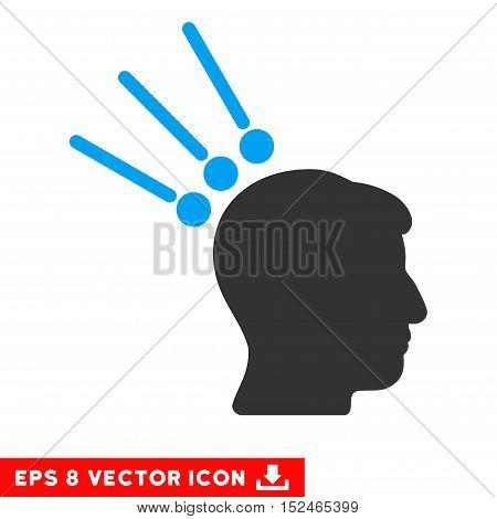 Head Test Connectors EPS vector pictograph. Illustration style is flat iconic bicolor blue and gray symbol on white background.