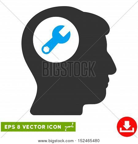Head Wrench EPS vector pictogram. Illustration style is flat iconic bicolor blue and gray symbol on white background.