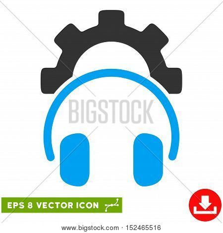 Headphones Configuration Gear EPS vector pictograph. Illustration style is flat iconic bicolor blue and gray symbol on white background.