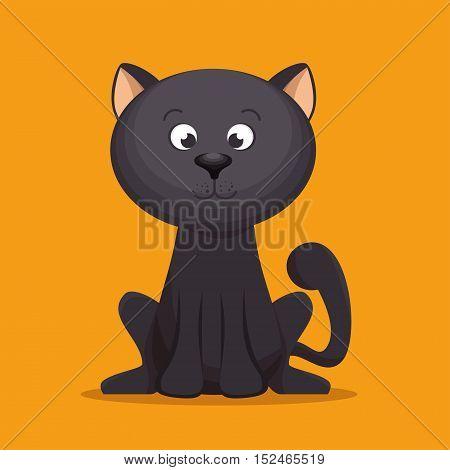 lovely kitten black sitting yellow background vector illustration eps 10
