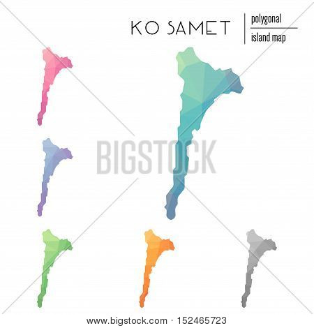 Set Of Vector Polygonal Ko Samet Maps Filled With Bright Gradient Of Low Poly Art. Multicolored Isla