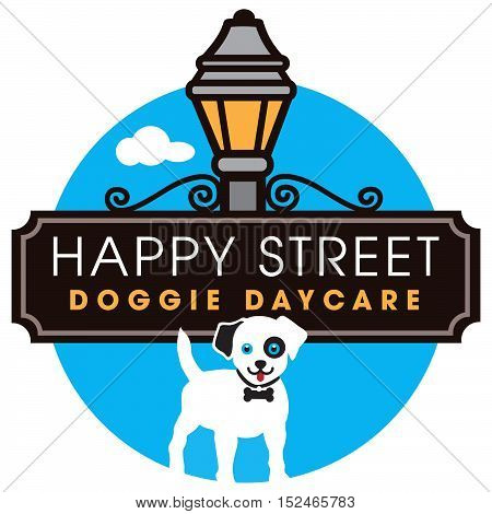 Happy Doggie Daycare logo with street sign and lantern.