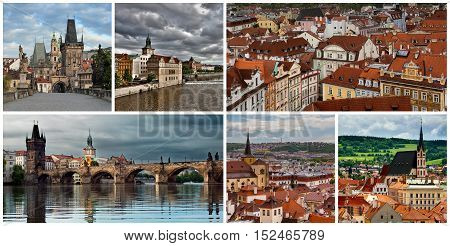 Collage of views and landscapes of Czech Republic.