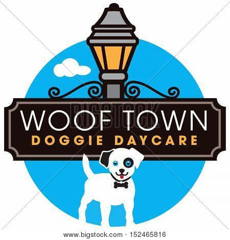 Dog Daycare logo with street sign and lantern