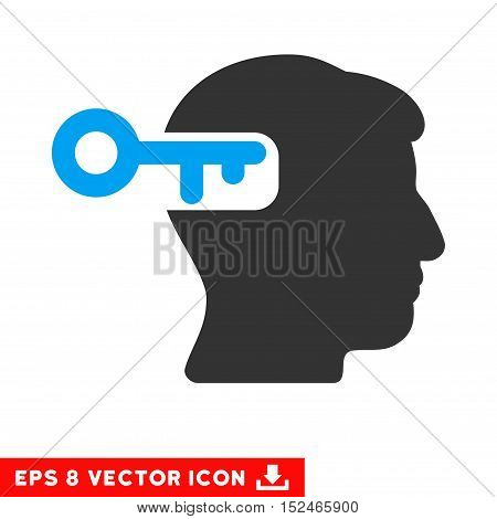 Intellect Key EPS vector pictogram. Illustration style is flat iconic bicolor blue and gray symbol on white background.