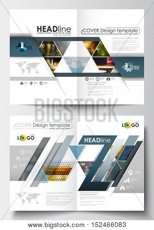 Business templates for brochure, magazine, flyer, booklet or annual report. Cover design template, easy editable blank, abstract flat layout in A4 size. Abstract multicolored background of nature landscapes, geometric triangular style, vector illustration