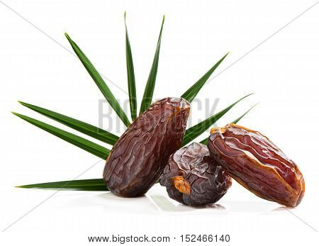 Close up of three big dates fruit with green leaf of palm tree isolated on white background.