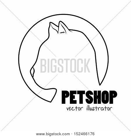silhouette kitti pet shop sign vector illustration eps 10