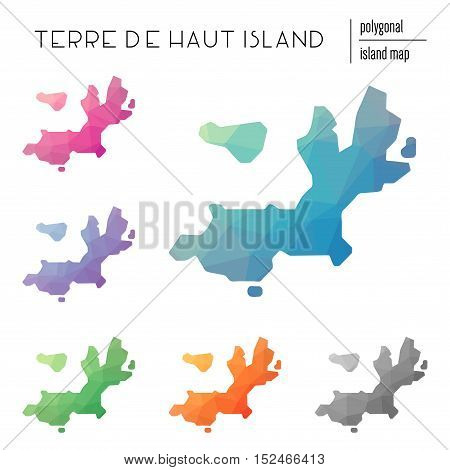 Set Of Vector Polygonal Terre-de-haut Island Maps Filled With Bright Gradient Of Low Poly Art. Multi