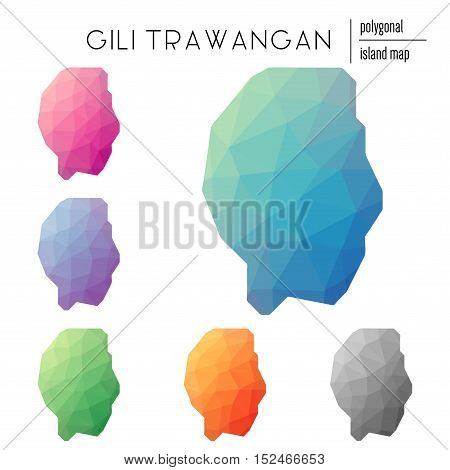 Set Of Vector Polygonal Gili Trawangan Maps Filled With Bright Gradient Of Low Poly Art. Multicolore