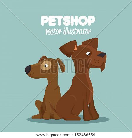 cute dogs pet shop clinic veterinary design vector illustration eps 10