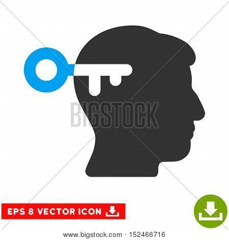 Mind Key EPS vector pictograph. Illustration style is flat iconic bicolor blue and gray symbol on white background.