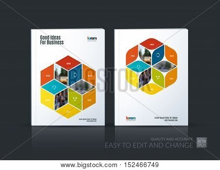 Brochure template layout collection, cover design annual report, magazine, flyer in A4 with colorful rhombus, rectangle for business, flower style. Abstract vector design set.