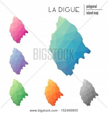 Set Of Vector Polygonal La Digue Maps Filled With Bright Gradient Of Low Poly Art. Multicolored Isla