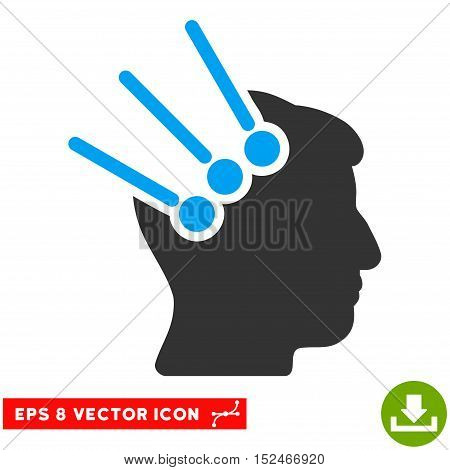 Neural Interface Connectors EPS vector pictogram. Illustration style is flat iconic bicolor blue and gray symbol on white background.