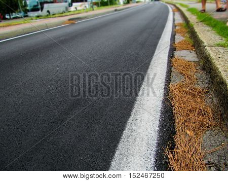 An asphalt road goes to horizon. On the side of the road lies the hay. In the distance can be seen the transport and the feet of people