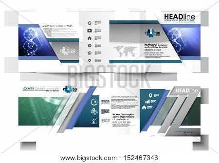 Set of business templates for tri-fold brochures. Square design. Leaflet cover, abstract flat layout, easy editable blank. DNA molecule structure, science background. Scientific research, medical technology