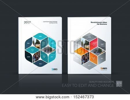 Brochure template layout collection, cover design annual report, magazine, flyer in A4 with rhombus, rectangle for business, flower style. Abstract vector design set.