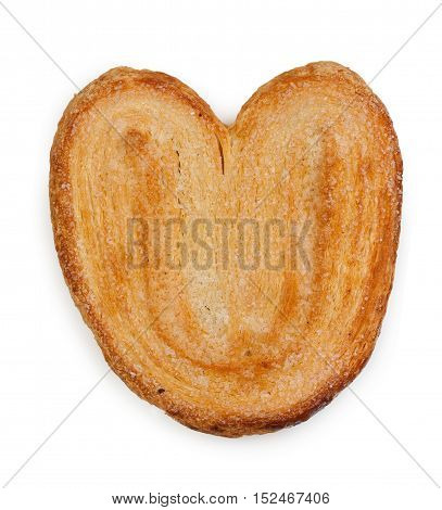 Sweet Puff Pastry Bun Ears, Isolated On White Background, Close-up, Top View.