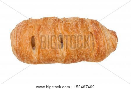 Sweet Puff Pastry Bun With Apple Jam, Isolated On White Background, Close-up, Top View.