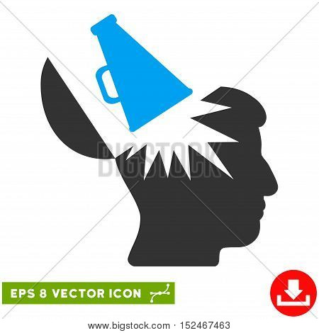Open Brain Megaphone EPS vector icon. Illustration style is flat iconic bicolor blue and gray symbol on white background.