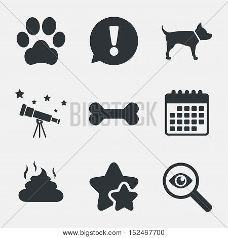 Pets icons. Dog paw and feces signs. Clean up after pets. Pets food. Attention, investigate and stars icons. Telescope and calendar signs. Vector