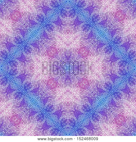 Bright seamless colorful ethnic christmas pattern. Collage with hand drawn branches petals leaves flowers. Batik style background backdrop. Boho style. Imitation of the frost painting image on the window